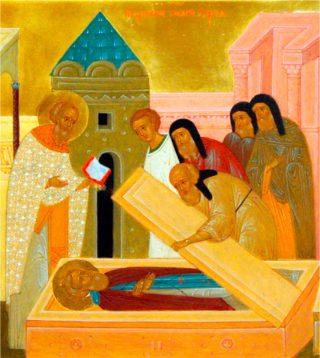 Invention des reliques de saint Serge par saint Nikon le 5 juillet 1422