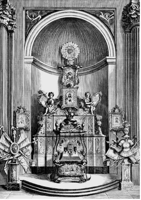 Grande châsse en argent de saint Alexandre Nevski dans la Laure de Saint-Pétersbourg : gravure du XVIIIème siècle.